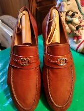 GUCCI MEN MONOGRAM BROWN LEATHER LOAFERS..U.S. 7M EU 40M ITALY