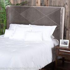 Bedroom Furniture Cal King to King Grey Fabric Wingback Accent Headboard