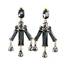 Gorgeous Unique Black Crystal Stones Water Drop Earrings Tri Bar Kite Chandelier