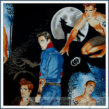 BonEful Fabric FQ Cotton Quilt Twilight Gay Oct Moon Wolf Tattoo Sexy Men Pin Up