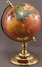 Multi-Gemstone 90mm Desktop Globe in Light Pink Pearl - Gold Tone Base Free S&H