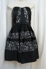 Betsy & Adam Dress Sz 12 Black Ivory Lace Detail Evening Cocktail Party Dress