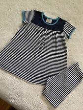 Hanna Andersson 100 Playdress Shorts Set Navy Blue White Stripes Euc