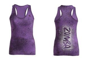 Zumba Cosmic Blast Racerback Tank Top - Orchid Purple XS, Small, Medium