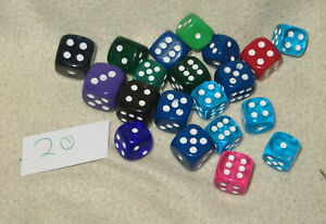Würfel-Mix 20 - 20x W6 / sechseitige Spielwürfel - Verschiedene Größen / Farben