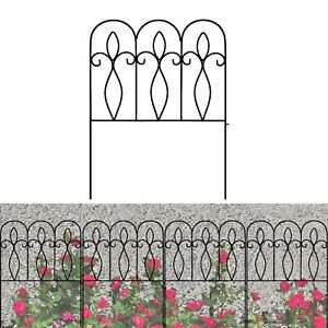 Decorative Garden Fence Rustproof Coated Metal 32in x 10ft Border Section Edg...