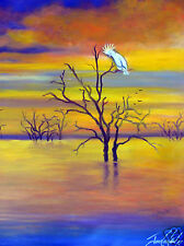 "59"" cockatoo Sunset birds tree original art painting canvas  landscape Australia"