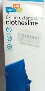 Extendable Clothesline 6-Line DRY-01626 Travel Honey-Can-Do Retractable Nylon