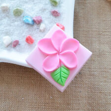 Square Frangipani Flower  Soap Mould Flexible Silicone Cookie Mold R0020