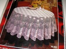 "NIP / New Vintage Cream VINYL Crochet Pineapple LACE Round Size 70"" Tablecloth"