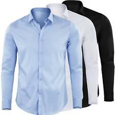 Camicia Manica Lunga Uomo Slim Fit Tinta Unita Cotone Elastico GIROGAMA 2449IT