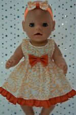 "Play n Wear Dolls Clothes To Fit 17""Baby Born WHITE/ORANGE FLORAL DRESS~HEADBAND"