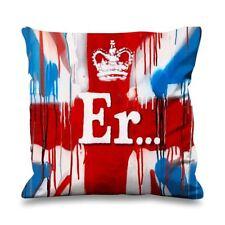 Banksy ER Union Jack Faux Silk 45cm x 45cm Sofa Cushion