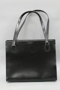 Kate Spade Vintage Made in Italy Black Smooth Leather Satchel Handbag