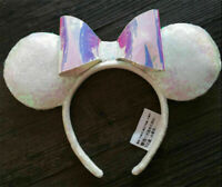 New Disney Parks Iridescent Glitter Sequin Minnie Mouse Headband Holiday Ears