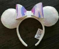 New Disney Parks Iridescent Glitter Sequin Minnie Mouse Headband Holiday Ears