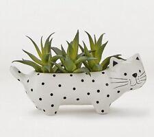 Black & White Mono Spotted Cat Planter Pot With Artificial Succulent Plant