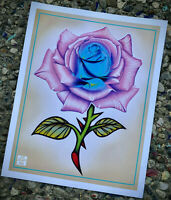 Illustrative Tattoo Rose 2 - Colored Pencil / Paint Marker Fine Art Poster Print