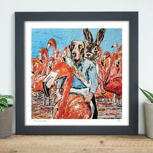 GILLIE AND MARC | Direct from Artists | Ltd Ed Print | Flamingo | Dog Rabbit