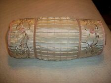 DECORATIVE ROUND CUSHION TOSS BOLSTER PILLOW FLORAL EMBROIDERED DESIGN NWOT
