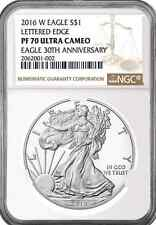 New listing 2016 W 1oz Silver Eagle Proof Ngc Pf70 Ultra Cameo - Brown Label