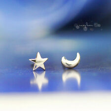 Cute Star and Moon Ear Stud Earrings Women's Tiny Silver Plated Jewelry