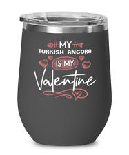 Turkish Angora Cat Lovers Wine Glass Insulated 12oz Black Tumbler Mug Cute Gift