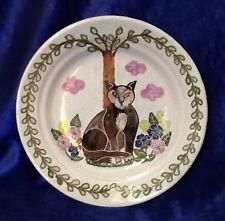 Portugal Vintage Handpainted Kitty Cat Red Ware MM Pottery Folk Art Plate 8 Inch