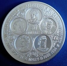 """CAYMAN IS: 1975 $50 """"The 5 British Queens"""" 2oz + .925 silver, capsule, top grade"""