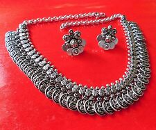 BALLERINA'S Antique Oxidized Silver Plated Tribal Necklace Earring Set (027)