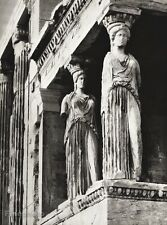 1934 Vintage 11x14 GREECE Athens Acropolis Statue Architecture Art By HURLIMANN