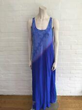 PASHMA Blue Long Paisley Printed Silk Dress Size S SMALL AMAZING