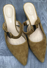 Clarks Suede Leather Mustard Shoes Slip On Mules Heels UK 5.5 39 Pointy Toe