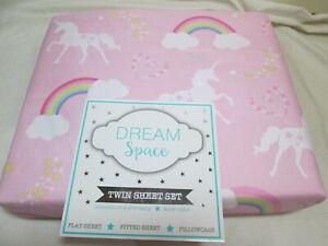 Dream Space Twin Sheet Set UNICORNS, RAINBOW, CLOUD & STARS ~ New