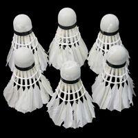 Durable Training Sport White Feather-Badminton Balls Game Match Shuttlecocks x 6
