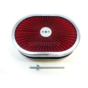 "12"" Oval Chrome Red Air Cleaner Super Flow Thru Washable Lid Street HotRod SBC"
