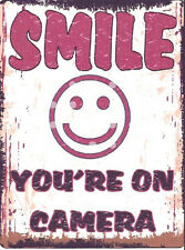 SMILE YOURE ON CAMERA  METAL WALL SIGN RETRO VINTAGE STYLE12x16in 30x40cm