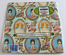 Vtg wedding Shower Gift Wrap 2 Sheets PaperCraft 70's scrapbook Groom Bride new!