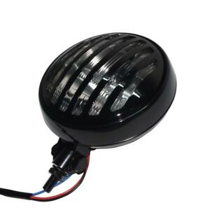 """Motorcycle Black Grill Clear Lens Headlight 6"""" H4 Headlamp For Harley Chopper"""