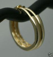 "Classic 15mm=5/8"" Heavy Solid 14K Yellow Gold Huggies Hoop Earrings 1.3g BEAUTY"