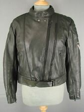 FRANK THOMAS BLACK LEATHER BIKER JACKET SIZE 12 WITH REMOVABLE BACK & ELBOW PADS