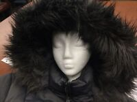 Calvin Klein Women's 1X Grey Down Parka Puffer Coat Jacket Hood Faux Fur Trim