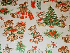 Vtg Christmas Wrapping Paper Gift Wrap Nos Kittens Mittens Bears Trees Mouse