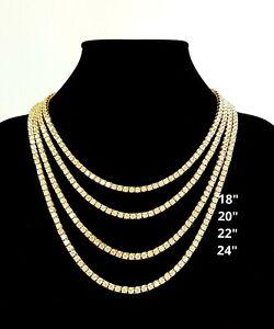 14K Gold Plated Iced Lab Stimulated Diamond Tennis Hip Hop Pharaoh Chain