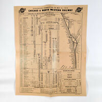 1915 Chicago & North Western Railroad Time Table Schedule Map Ashland Early