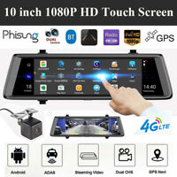 "10"" Dual Lens 1080P 4G WiFi Android 5.1 Car Rearview Mirror DVR GPS Dash Camera"