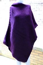 Handmade Knitted Poncho Deep Purple Asymmetric