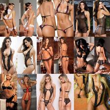 Women Sexy Lingerie Black Lace Dress Underwear Babydoll Sleepwear G-string