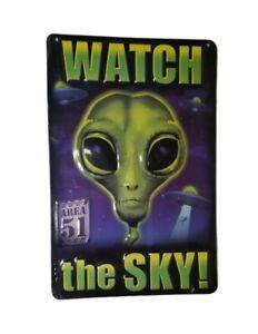 "Area 51 Watch The Sky Raised Metal Sign 13"" x 8"" Alien UFO Space Halloween NEW"