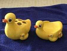 Cute Yellow Ducks & Babies Soap Dish and Toothbrush Holder